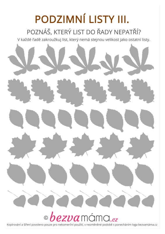 Pracovni List Podzimni Listy Iii Bezva Mama