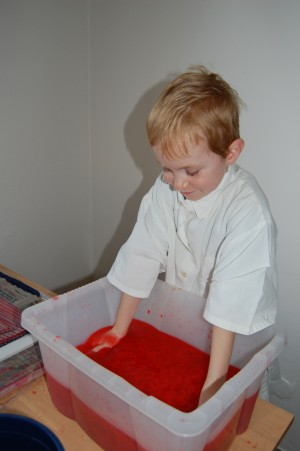 pro výrobu barevného papíru jsme použili barevný krepový papír (namísto kuchyňských utěrek)